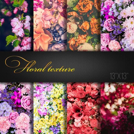 Floral textures floral digital paper flowers scrapbooking etsy image 0 mightylinksfo