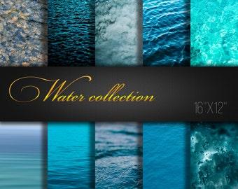 Water Collection / Water Paper Pack / Water Scrapbook Paper / Water Paper / Ocean / Sea / Water Digital Paper / Wave / Blue / Big size