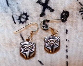 Bronze mystical eye earrings