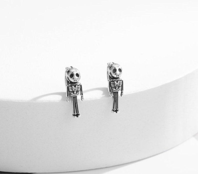 sterling silver skull hoop earring hoops endless huggies simple earrings everydaygift for her