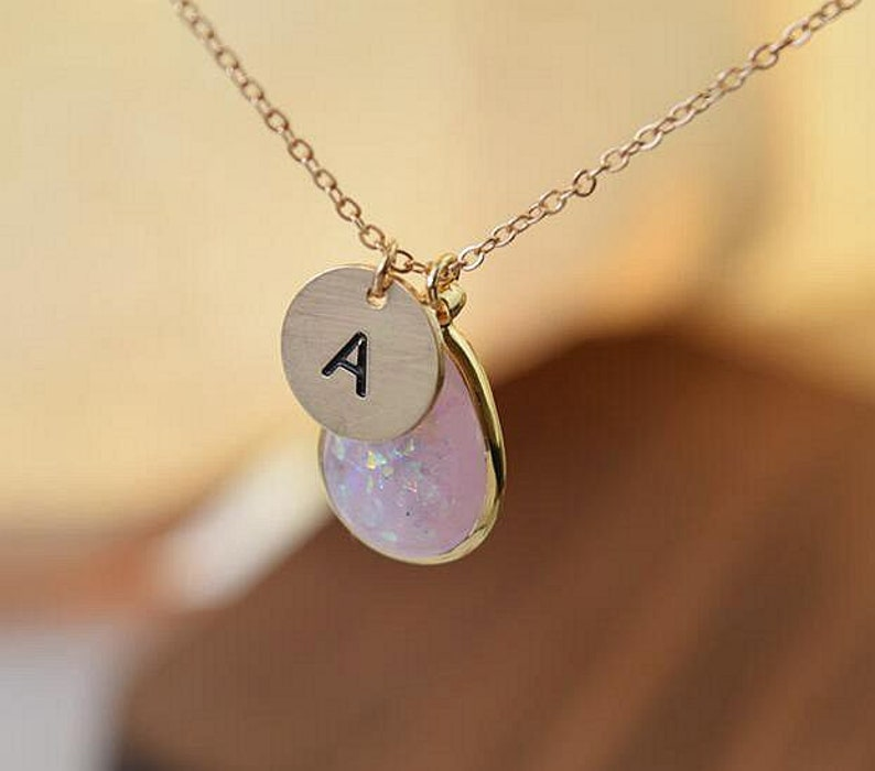 personalized initial disc coin faux opal necklace custom gold name necklace bridesmaid gift