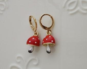 gold mushroom hoop earring endless hoops huggies dangle earring simple earrings everyday/gift for her