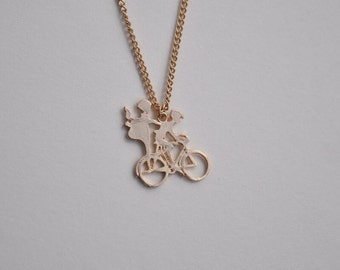 bike necklace gold necklace everyday necklace bridesmaid necklace