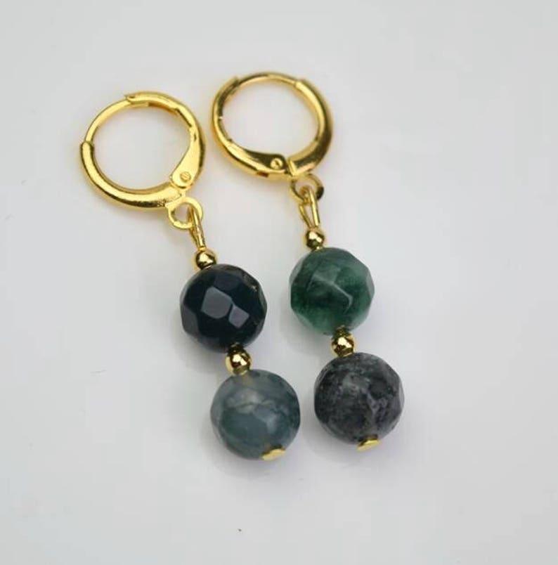 gold grass green moss agate gemstone hoop earring drop huggie earrings simple earrings everydaygift for her