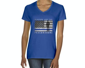 Police T-Shirt Blessed Are The Peacemakers Police Women s V-Neck T-Shirt Tee ba1e33323