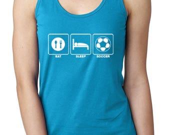 15735f1bd43a96 Soccer Tank Top Eat Sleep Soccer Women s Racerback Tank