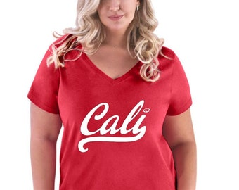 15acd660 Cali California Republic Golden State Flag Gift Women Curvy Plus Size  V-Neck Tee