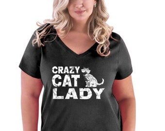 39794e82 Cat Lover Mother's Day Gift Crazy Cat Lady Women Curvy Plus Size V-Neck Tee
