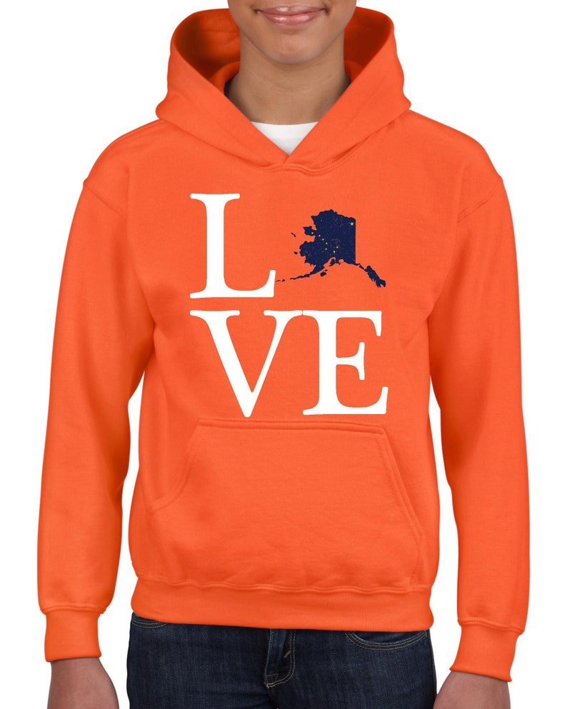 Alaska State Flag Proud Home Anchorage Traveler/'s Gift Unisex Hoodie For Girls and Boys Youth Sweatshirt