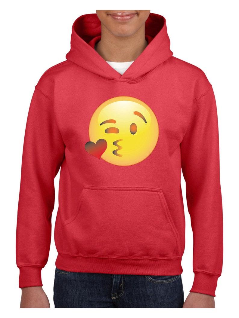 Emoji Wink Face Unisex Hoodie For Girls and Boys Youth Sweatshirt