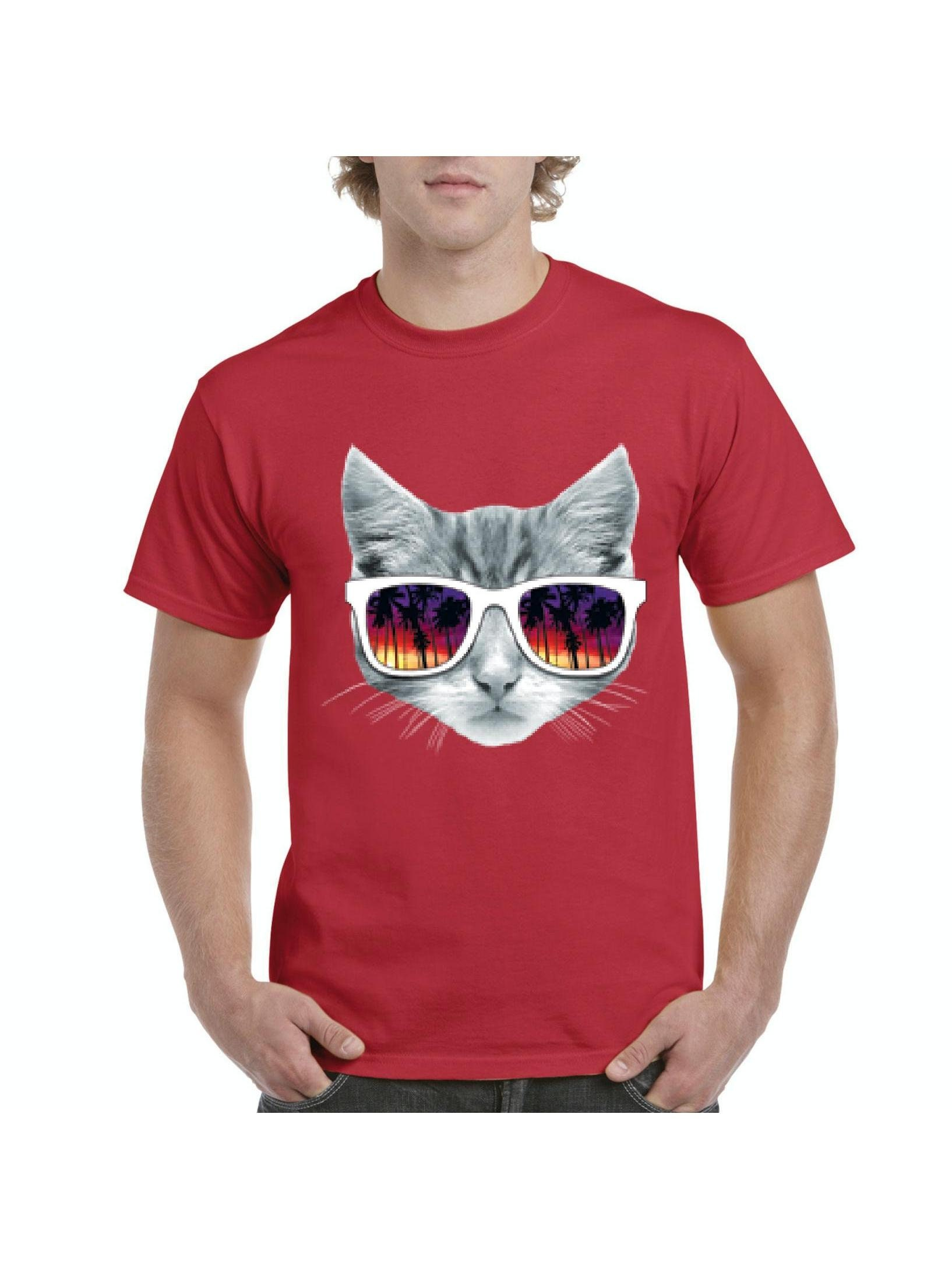20407e60b004 Chat chemises avec des lunettes de soleil amour Kitty hommes chemises Chat  T-Shirt Tee