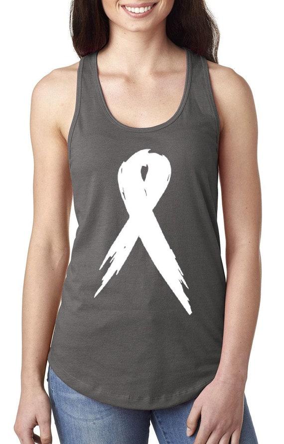 Women/'s junior fit Racerback Tank Top White Pink Ribbon Breast Cancer Awareness