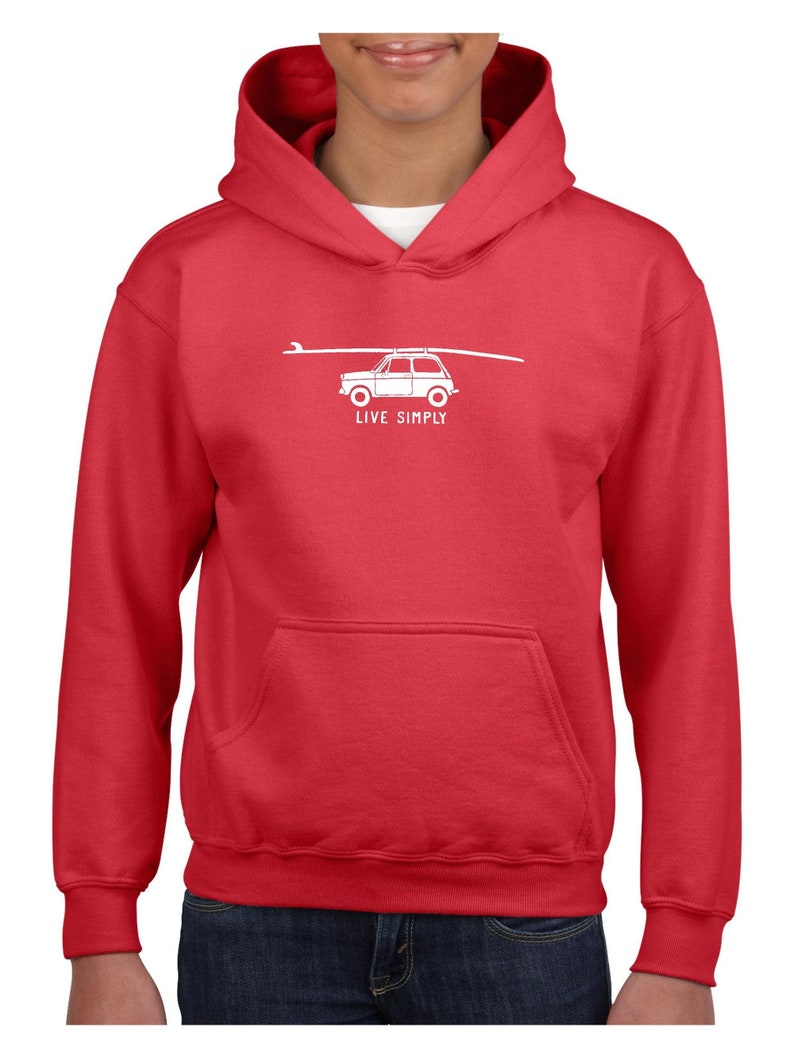 Novelty Gift Surfboard Car Unisex Hoodie For Girls and Boys Youth Sweatshirt