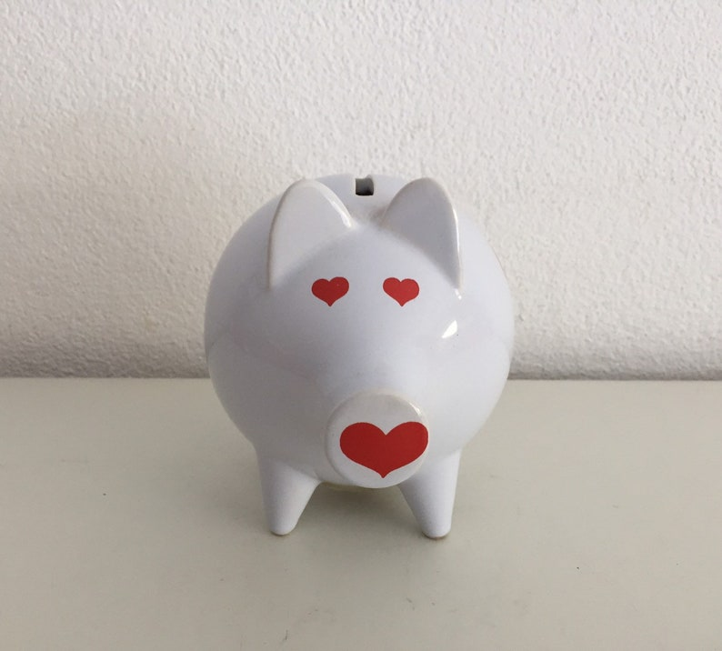 Retro Bank Design.Retro Spaarpot Spaarvarken Vintage Cute Hearts Design Piggy Bank