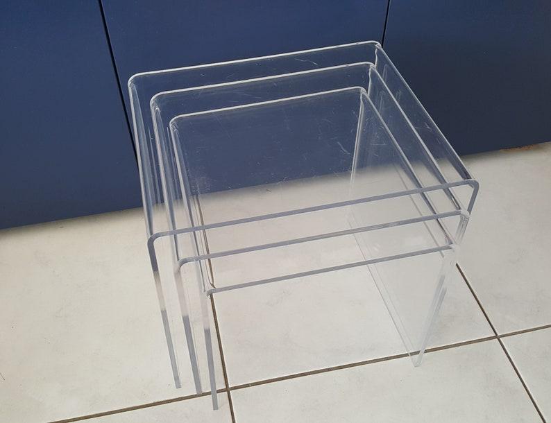 3 Vintage Bijzettafeltjes.Vintage Nesting Tables Bijzettafels Plexiglas Miniset Mimiset 3 Sidetables