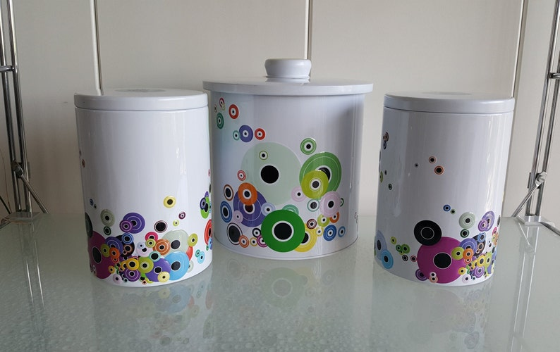Blikken Coloured Nineties Keuken Set Kitchen 3 Containers Vintage Tins 29WIDHYE