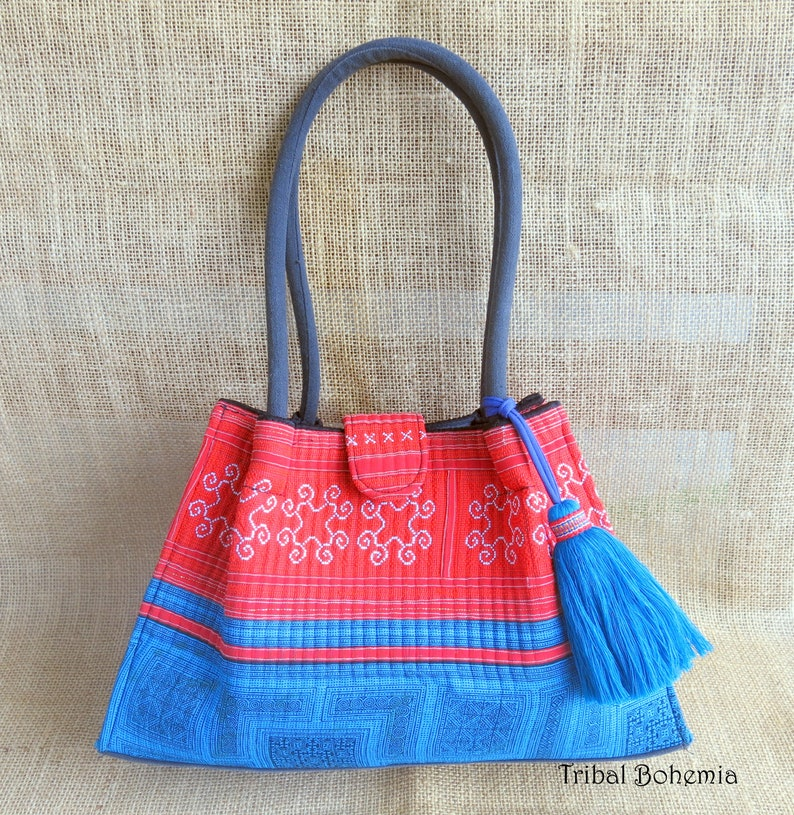 dcf8ad5ac26d Embroidered Ethnic Handbag, Red Boho Bag, Blue Boho Bag, Hippie Bag, Boho  Bag, Shoulder Bag Cotton, Tote Bag Cotton, Ethnic Bag, Vintage Bag