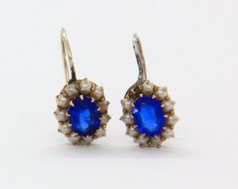 2cb98dc9e Antique Victorian paste Earrings, Antique Gold Earrings, Sapphire blue  Paste earrings, Antique Victorian Jewelry, Antique paste jewelry