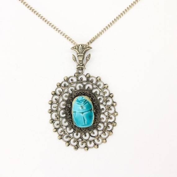 Silver Egyptian revival scarab pendant, Egyptian s