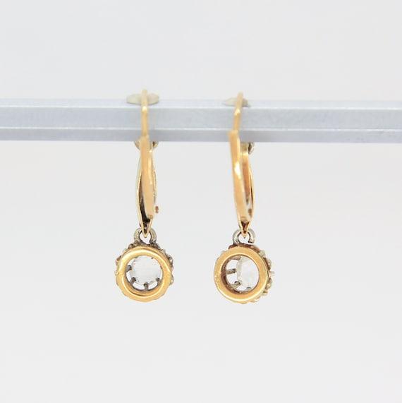 Antique Victorian diamond earrings, 18k gold earr… - image 6