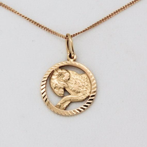 Vintage 9k gold Aries necklace pendant, Zodiac sig