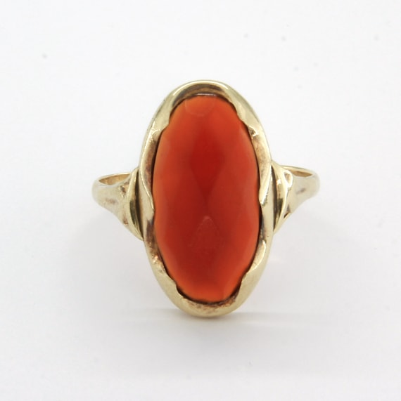 Antique 14k gold carnelian ring, Gemstone stateme… - image 2