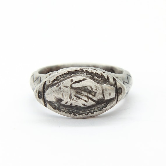 Ancient Roman silver Fede ring, Clasped hands Roma
