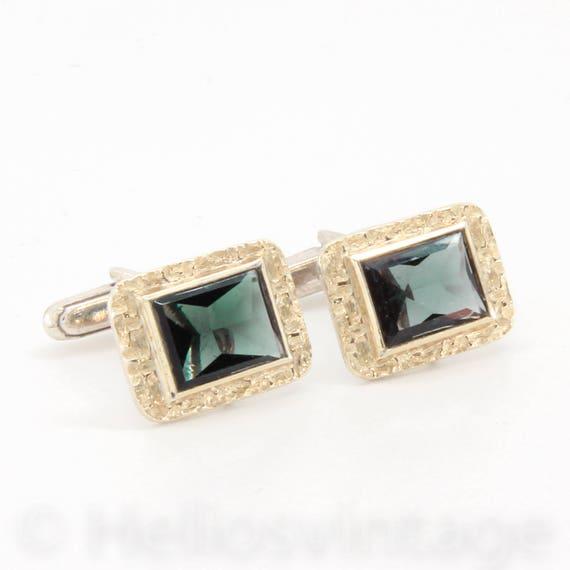 Vintage silver gemstone cuff links, green spinel c