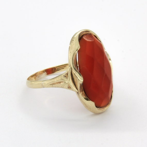 Antique 14k gold carnelian ring, Gemstone stateme… - image 1