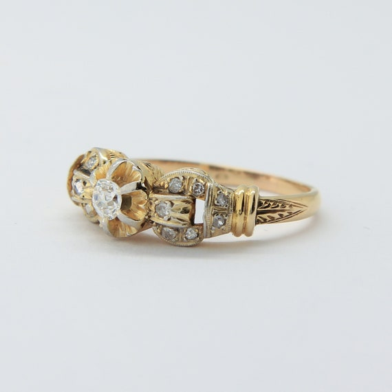 Victorian 18k gold and platinum old mine cut diamo