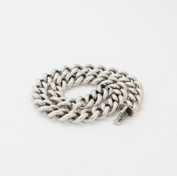 Vintage silver mens bracelet, Silver curb bracelet
