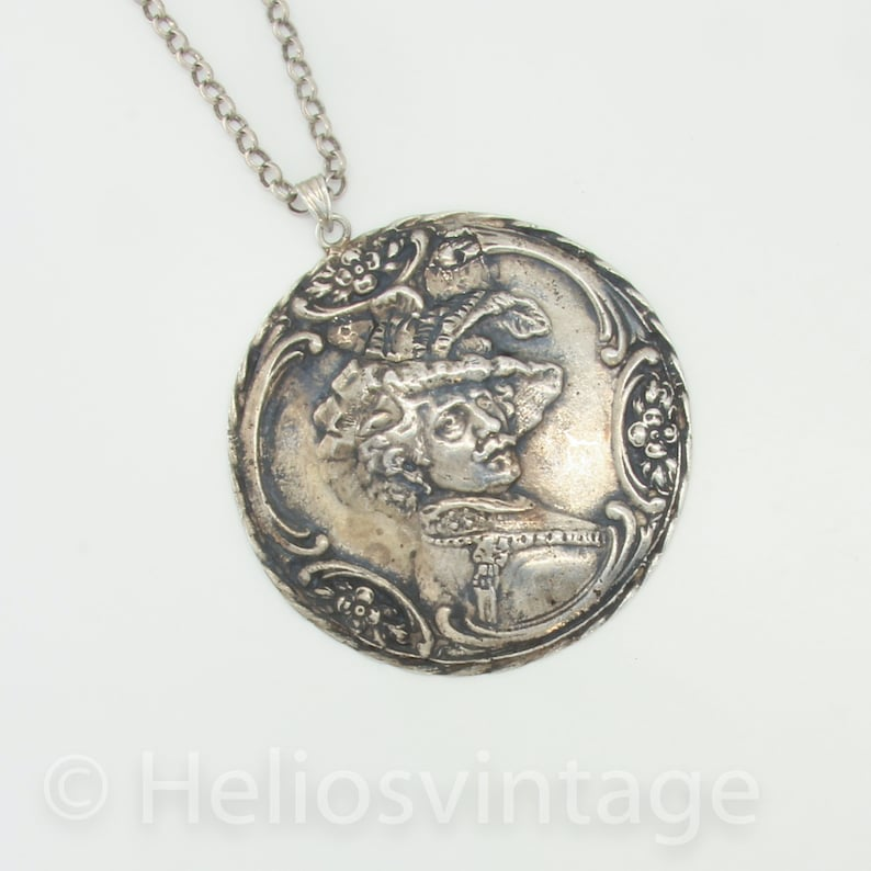 Big statement necklace pendant Huge pendant of a portret bij Rembrandt A Man with a Feathered Beret by Van Rijn Unique gift Wearable art
