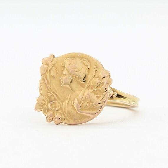 French Art nouveau ring by E Dropsy, Art nouveau j