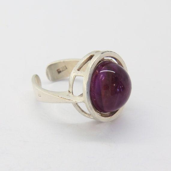 Vintage modernist amethyst ring, Silver modernist