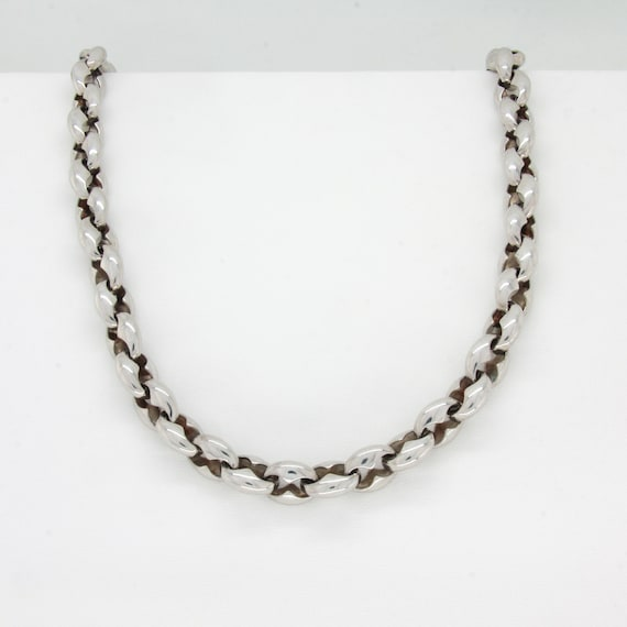 Vintage silver chunky chain necklace, Silver chain