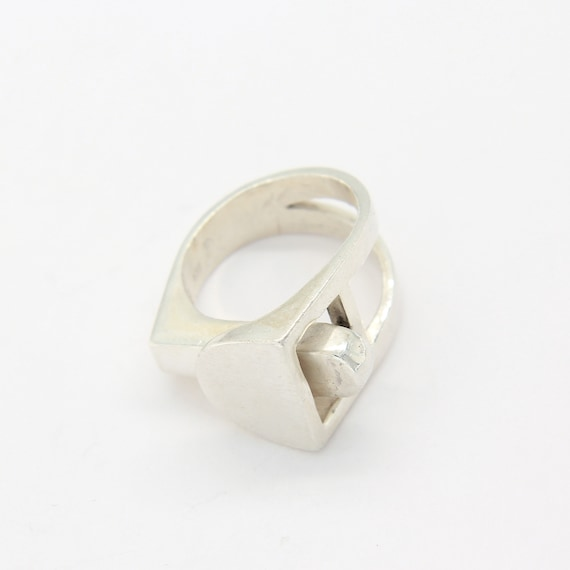 Vintage sterling silver modernist geometrical ring