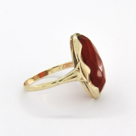 Antique 14k gold carnelian ring, Gemstone stateme… - image 3