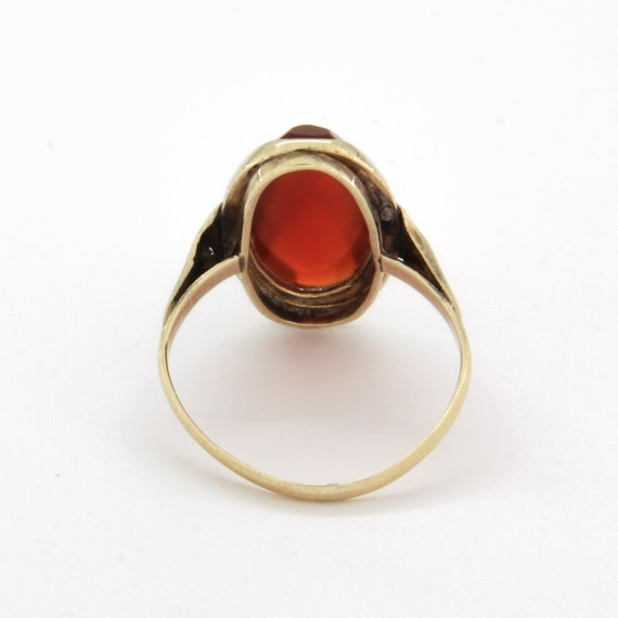 Antique 14k gold carnelian ring, Gemstone stateme… - image 4