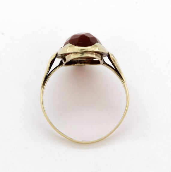 Antique 14k gold carnelian ring, Gemstone stateme… - image 5