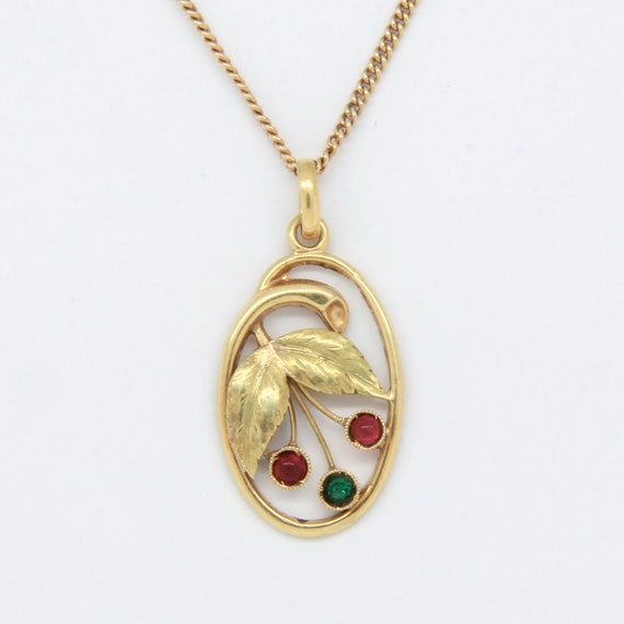 Art nouveau gold berry pendant, 14k gold Art nouve