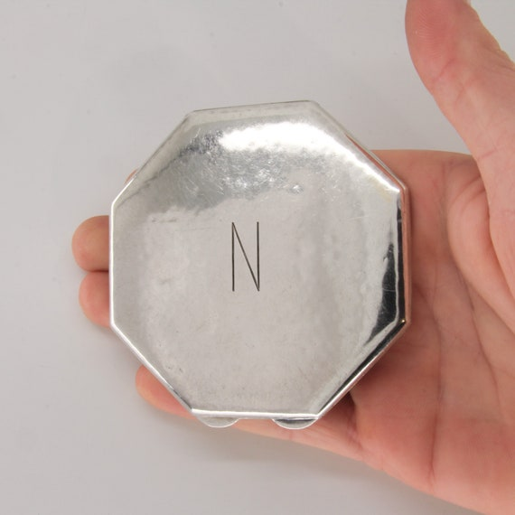 Art deco sterling silver compact powder box with m