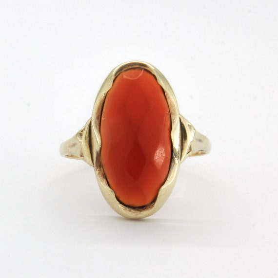 Antique 14k gold carnelian ring, Gemstone stateme… - image 6