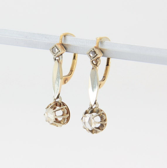 Antique Victorian diamond earrings, 18k gold earri