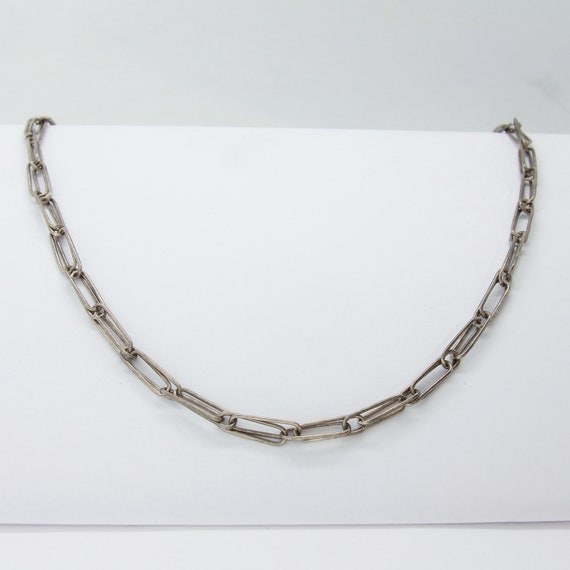 33'' sterling silver paperclip necklace, Statement