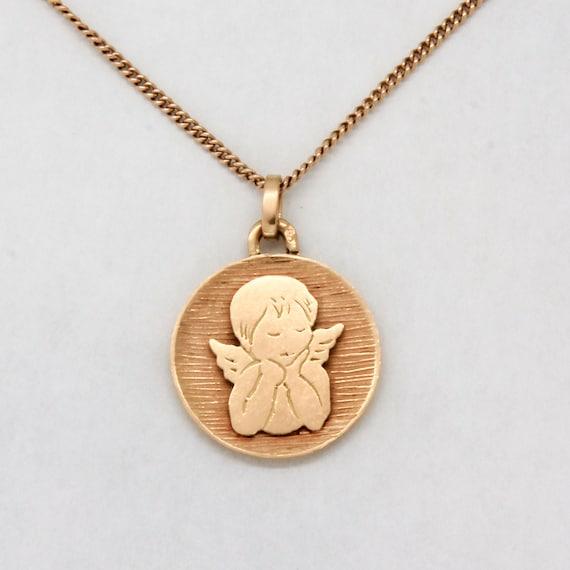 Vintage 18k gold cherub pendant, French vintage ch
