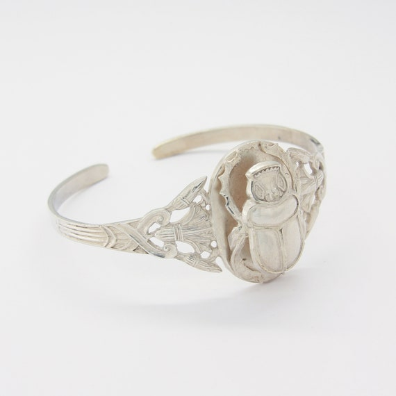 Silver Egyptian scarab & Lotus cuff bracelet, Egyp
