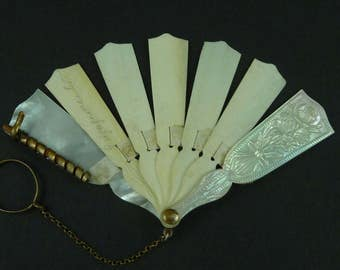 Carved Mother of Pearl Aide Memoire Dance Card Fan Antique