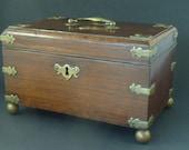 Anglo Chinese Padouk Wood Brass Mounted Tea Caddy 1770 China