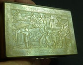 Chinese Export Carved Mother of Pearl Silver Snuff Box MOP Bas-Relief Cantonese Antique