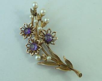 Vintage 9ct Gold Amethyst Pearl Flower Floral Spray Brooch 6.6 grams